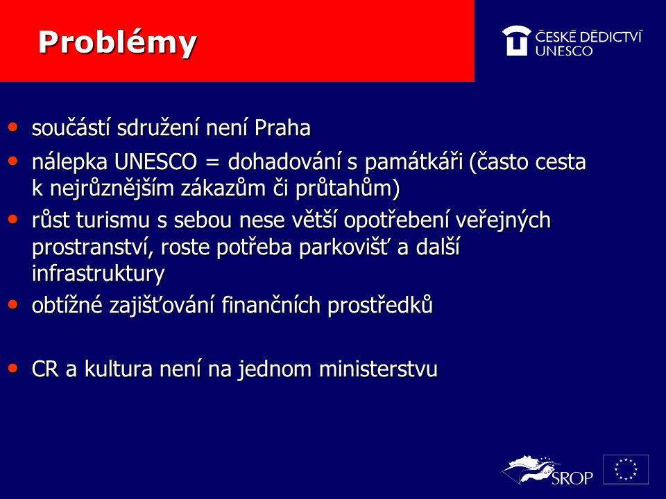 Problémy Problémy součástí sdružení není Praha součástí sdružení není Praha nálepka UNESCO = dohadování s památkáři (často cesta k nejrůznějším zákazům či průtahům) nálepka UNESCO = dohadování s památkáři (často cesta k nejrůznějším zákazům či průtahům) růst turismu s sebou nese větší opotřebení veřejných prostranství, roste potřeba parkovišť a další infrastruktury růst turismu s sebou nese větší opotřebení veřejných prostranství, roste potřeba parkovišť a další infrastruktury obtížné zajišťování finančních prostředků obtížné zajišťování finančních prostředků CR a kultura není na jednom ministerstvu CR a kultura není na jednom ministerstvu