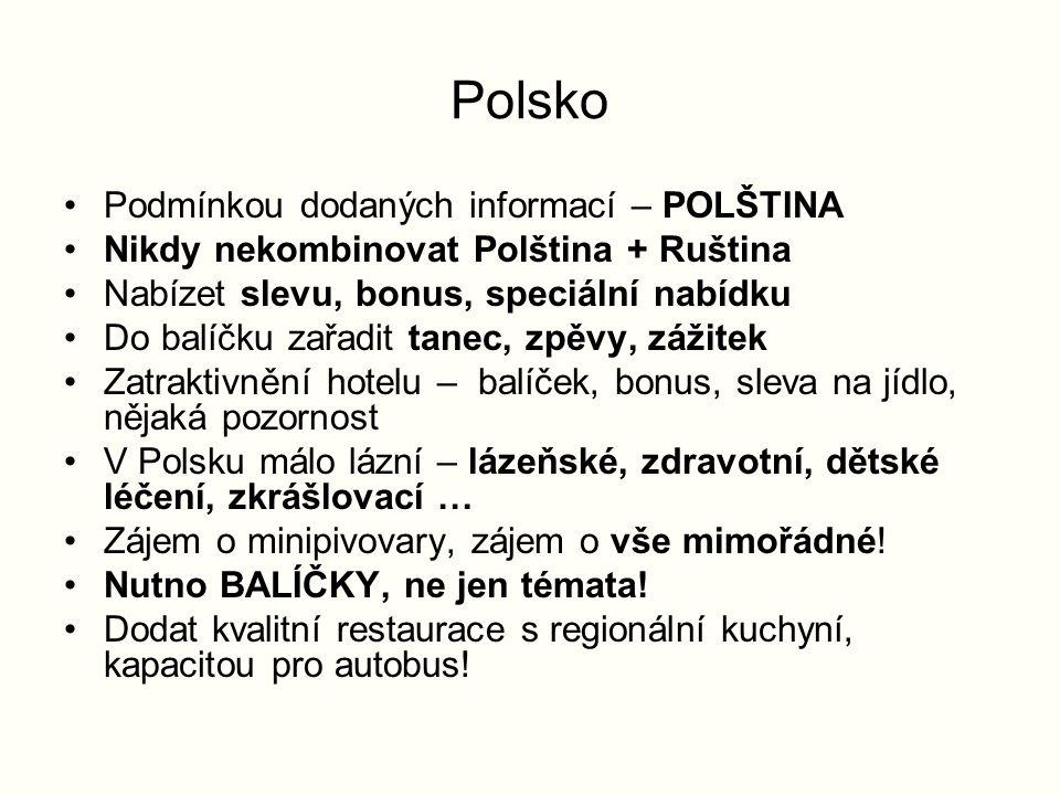 Polsko Podmínkou dodaných informací – POLŠTINA Nikdy nekombinovat Polština + Ruština Nabízet slevu, bonus, speciální nabídku Do balíčku zařadit tanec, zpěvy, zážitek Zatraktivnění hotelu – balíček, bonus, sleva na jídlo, nějaká pozornost V Polsku málo lázní – lázeňské, zdravotní, dětské léčení, zkrášlovací … Zájem o minipivovary, zájem o vše mimořádné.