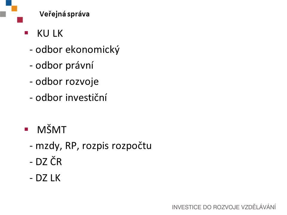 Veřejná správa  KU LK - odbor ekonomický - odbor právní - odbor rozvoje - odbor investiční  MŠMT - mzdy, RP, rozpis rozpočtu - DZ ČR - DZ LK