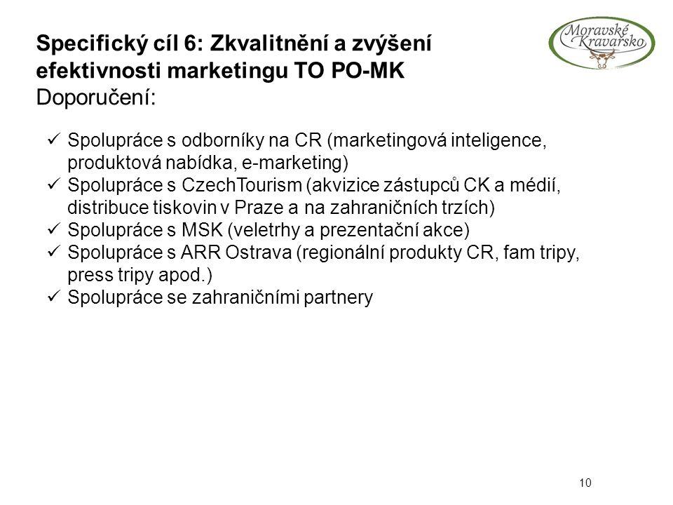 Specifický cíl 6: Zkvalitnění a zvýšení efektivnosti marketingu TO PO-MK Doporučení: 10 Spolupráce s odborníky na CR (marketingová inteligence, produktová nabídka, e-marketing) Spolupráce s CzechTourism (akvizice zástupců CK a médií, distribuce tiskovin v Praze a na zahraničních trzích) Spolupráce s MSK (veletrhy a prezentační akce) Spolupráce s ARR Ostrava (regionální produkty CR, fam tripy, press tripy apod.) Spolupráce se zahraničními partnery