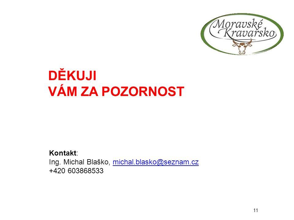11 DĚKUJI VÁM ZA POZORNOST Kontakt: Ing. Michal Blaško, michal.blasko@seznam.czmichal.blasko@seznam.cz +420 603868533