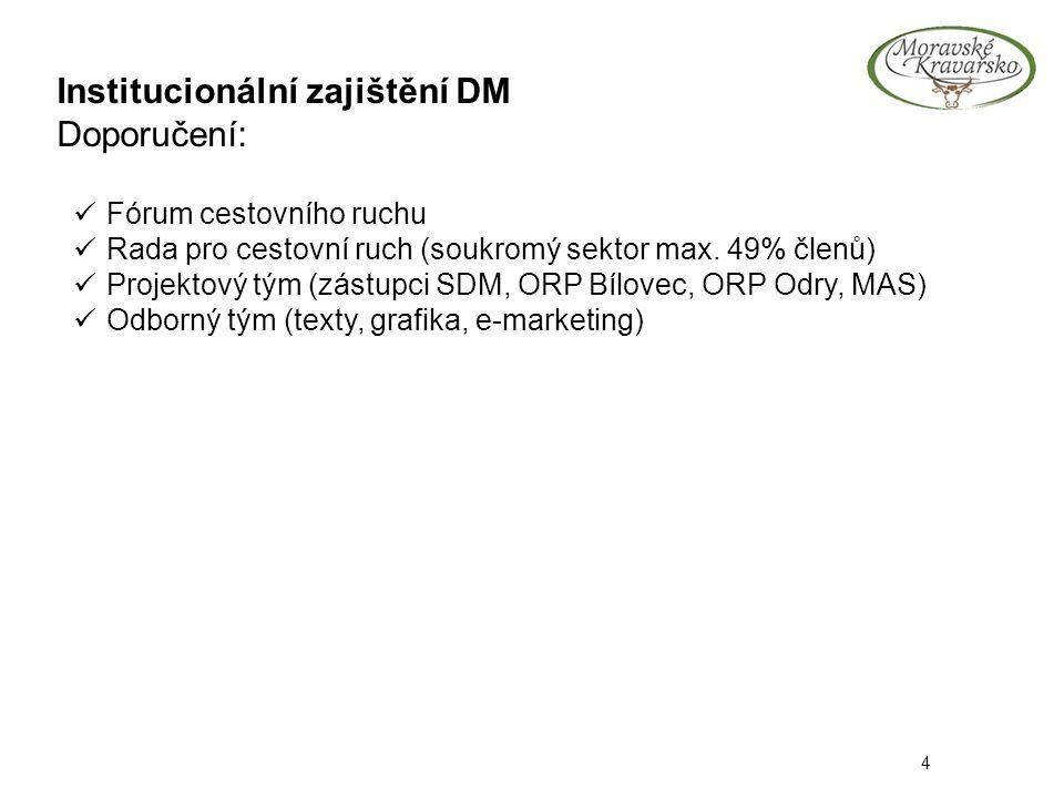 Institucionální zajištění DM Doporučení: 4 Fórum cestovního ruchu Rada pro cestovní ruch (soukromý sektor max. 49% členů) Projektový tým (zástupci SDM