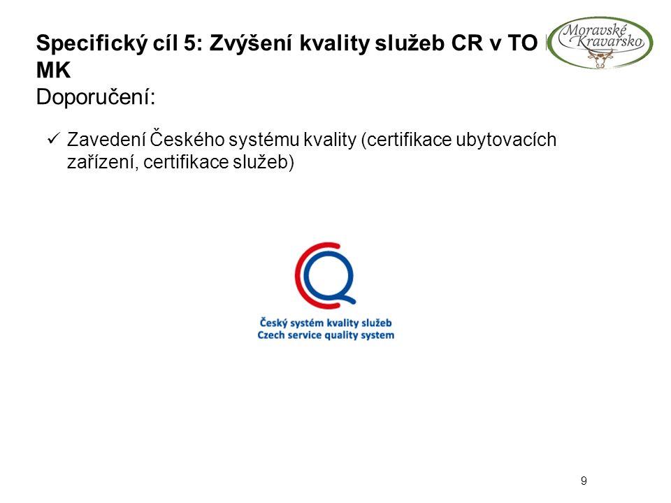 Specifický cíl 5: Zvýšení kvality služeb CR v TO P- MK Doporučení: 9 Zavedení Českého systému kvality (certifikace ubytovacích zařízení, certifikace s