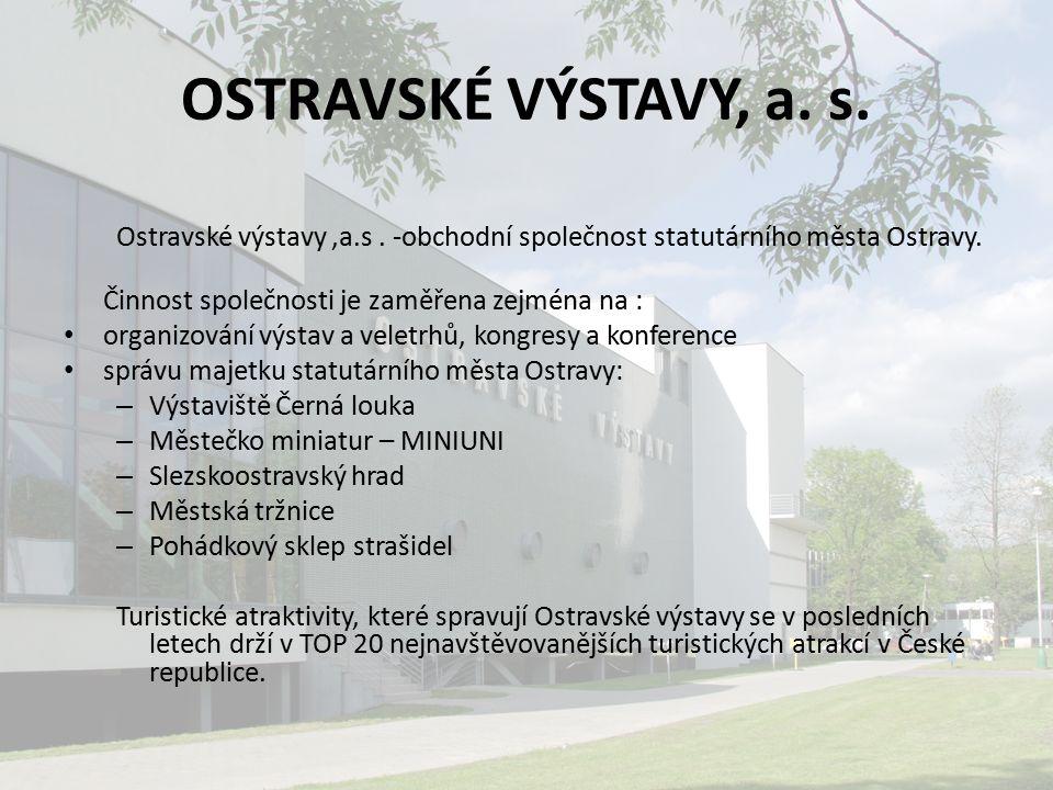 OSTRAVSKÉ VÝSTAVY, a. s. Ostravské výstavy,a.s. -obchodní společnost statutárního města Ostravy. Činnost společnosti je zaměřena zejména na : organizo