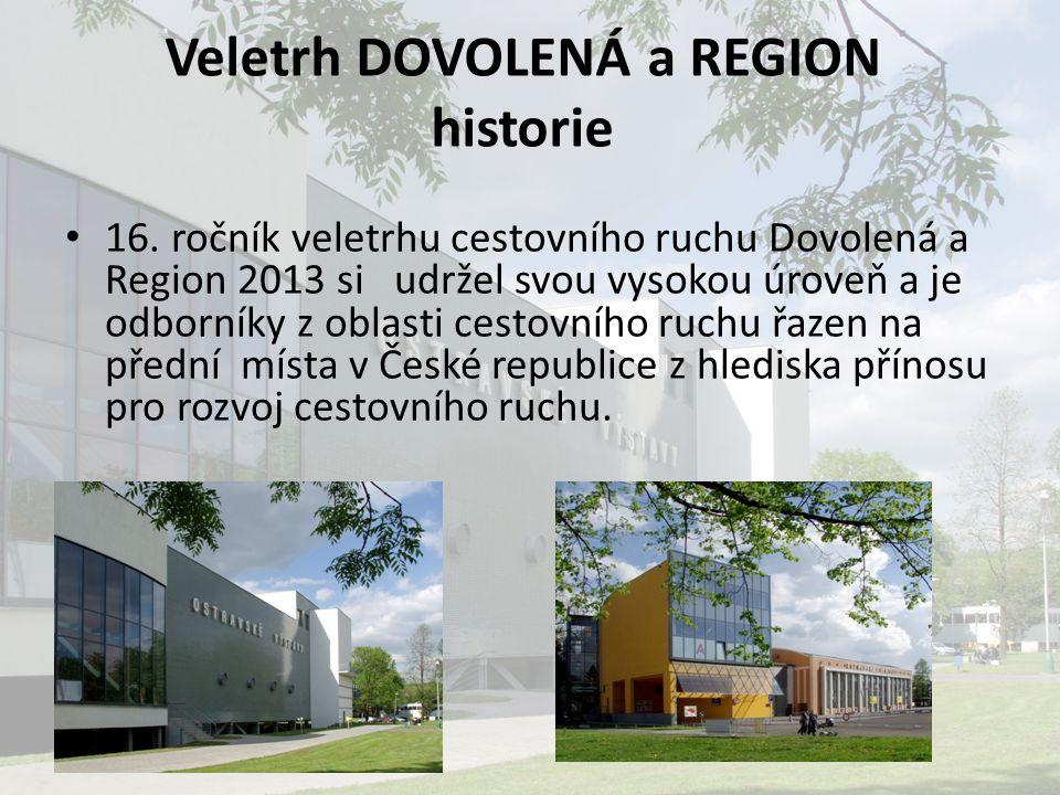 Veletrh DOVOLENÁ a REGION historie 16. ročník veletrhu cestovního ruchu Dovolená a Region 2013 si udržel svou vysokou úroveň a je odborníky z oblasti