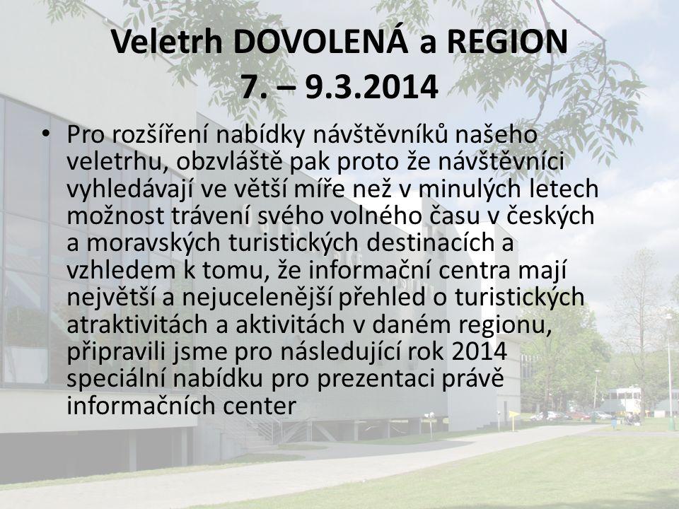 Veletrh DOVOLENÁ a REGION 7. – 9.3.2014 Pro rozšíření nabídky návštěvníků našeho veletrhu, obzvláště pak proto že návštěvníci vyhledávají ve větší míř