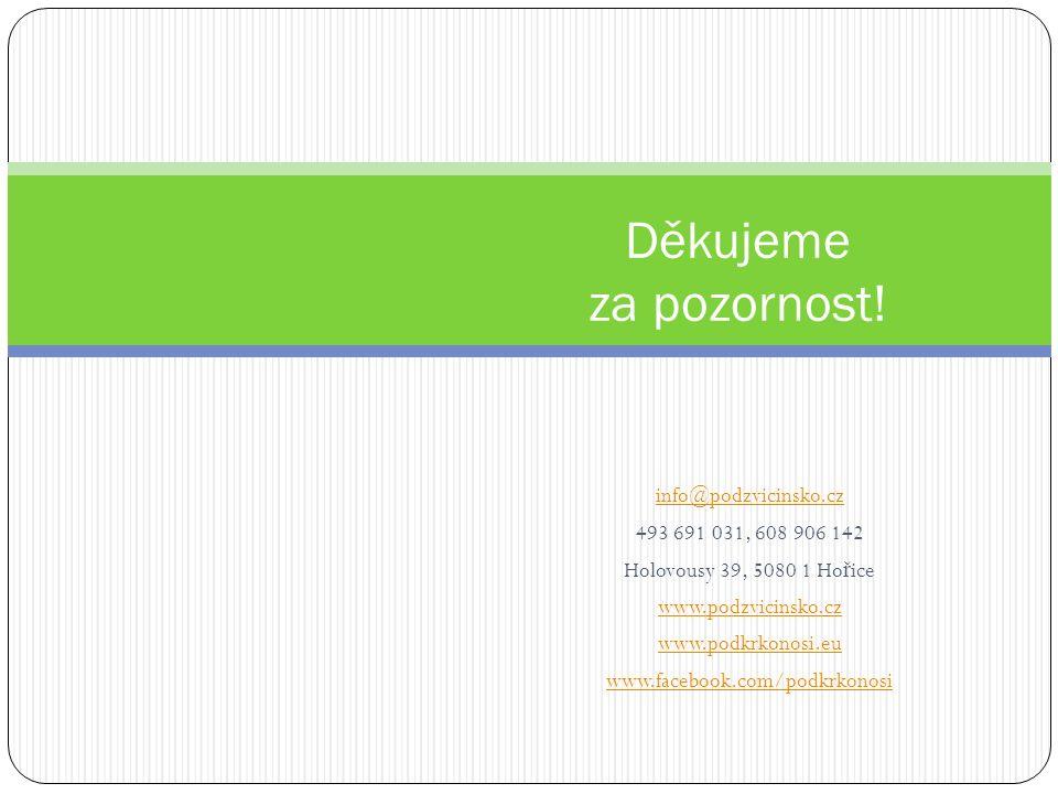 info@podzvicinsko.cz 493 691 031, 608 906 142 Holovousy 39, 5080 1 Ho ř ice www.podzvicinsko.cz www.podkrkonosi.eu www.facebook.com/podkrkonosi Děkujeme za pozornost!