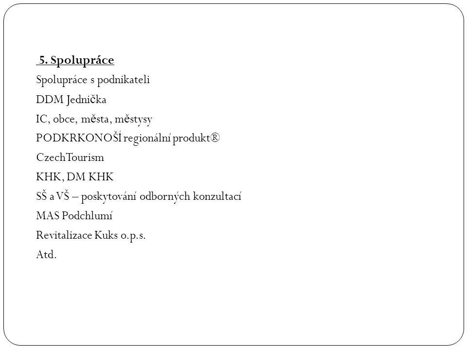 5. Spolupráce Spolupráce s podnikateli DDM Jedni č ka IC, obce, m ě sta, m ě stysy PODKRKONOŠÍ regionální produkt® CzechTourism KHK, DM KHK SŠ a VŠ –