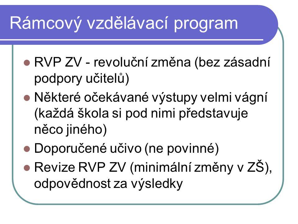 Rámcový vzdělávací program RVP ZV - revoluční změna (bez zásadní podpory učitelů) Některé očekávané výstupy velmi vágní (každá škola si pod nimi představuje něco jiného) Doporučené učivo (ne povinné) Revize RVP ZV (minimální změny v ZŠ), odpovědnost za výsledky