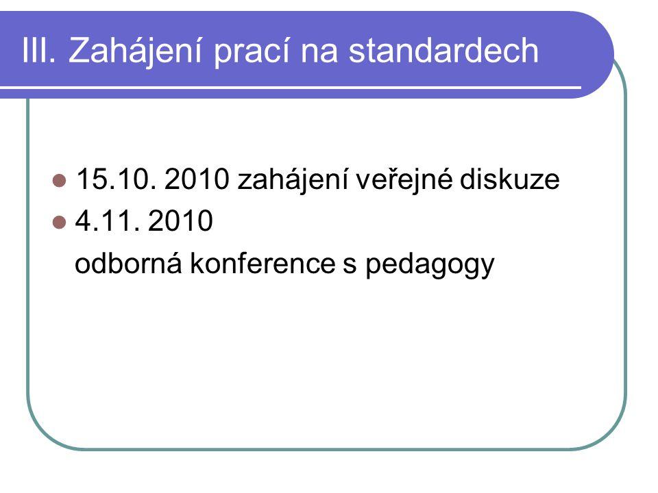 III.Zahájení prací na standardech 15.10. 2010 zahájení veřejné diskuze 4.11.