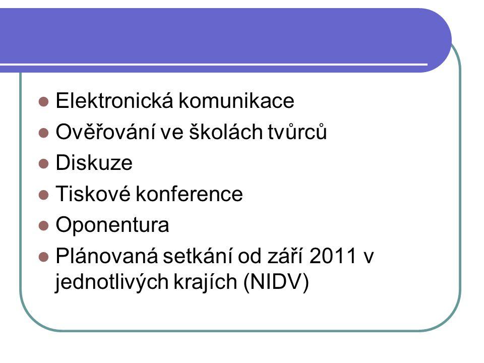 Elektronická komunikace Ověřování ve školách tvůrců Diskuze Tiskové konference Oponentura Plánovaná setkání od září 2011 v jednotlivých krajích (NIDV)