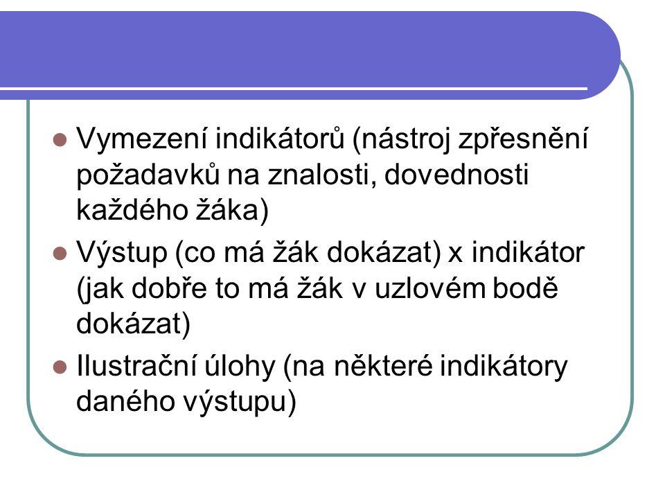 Vymezení indikátorů (nástroj zpřesnění požadavků na znalosti, dovednosti každého žáka) Výstup (co má žák dokázat) x indikátor (jak dobře to má žák v uzlovém bodě dokázat) Ilustrační úlohy (na některé indikátory daného výstupu)