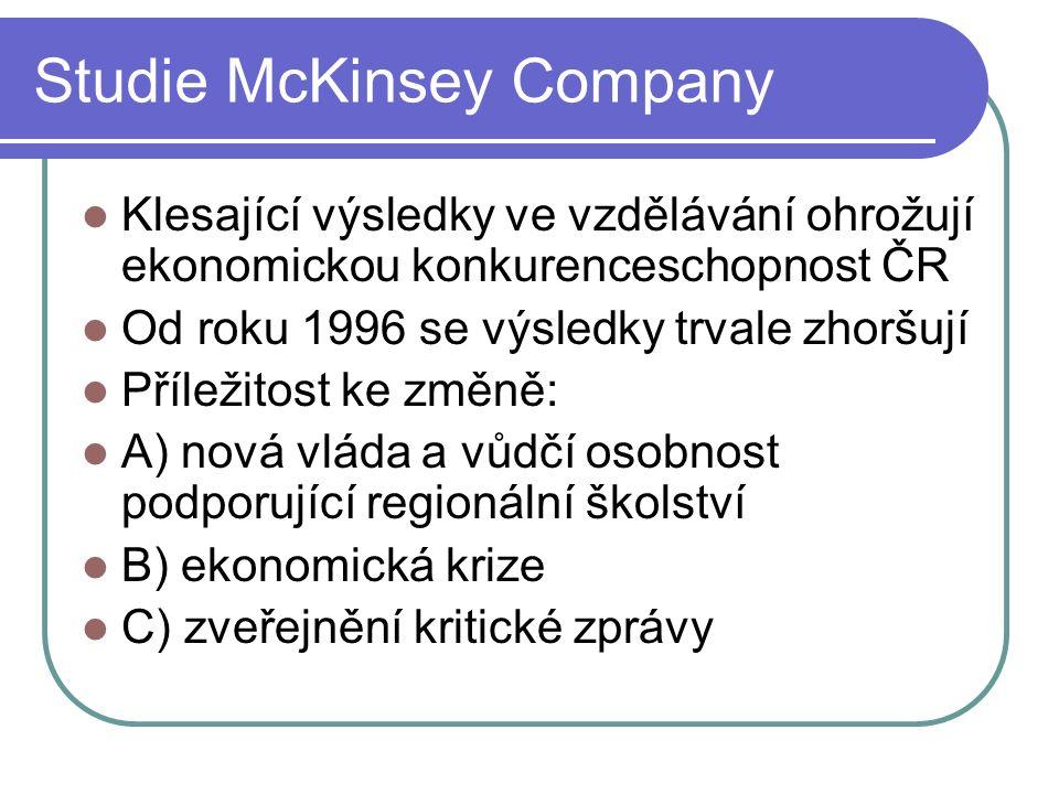 Studie McKinsey Company Klesající výsledky ve vzdělávání ohrožují ekonomickou konkurenceschopnost ČR Od roku 1996 se výsledky trvale zhoršují Příležitost ke změně: A) nová vláda a vůdčí osobnost podporující regionální školství B) ekonomická krize C) zveřejnění kritické zprávy
