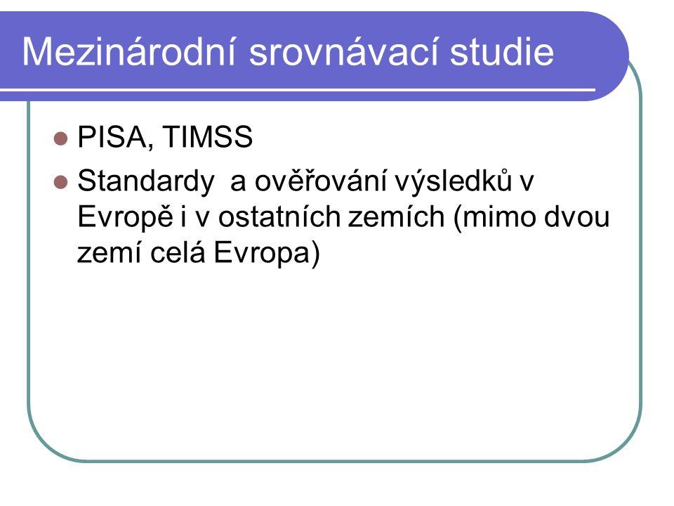 Mezinárodní srovnávací studie PISA, TIMSS Standardy a ověřování výsledků v Evropě i v ostatních zemích (mimo dvou zemí celá Evropa)