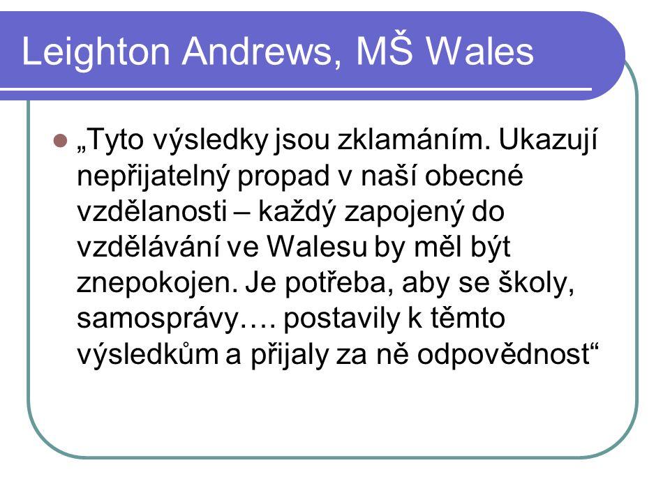 """Leighton Andrews, MŠ Wales """"Tyto výsledky jsou zklamáním."""