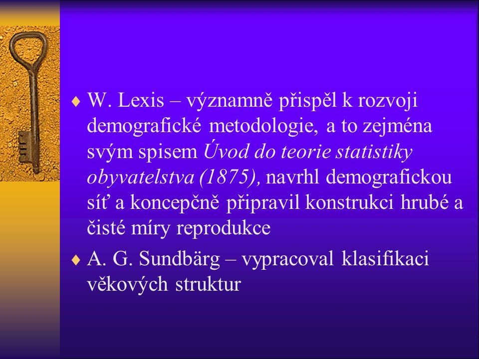  W. Lexis – významně přispěl k rozvoji demografické metodologie, a to zejména svým spisem Úvod do teorie statistiky obyvatelstva (1875), navrhl demog