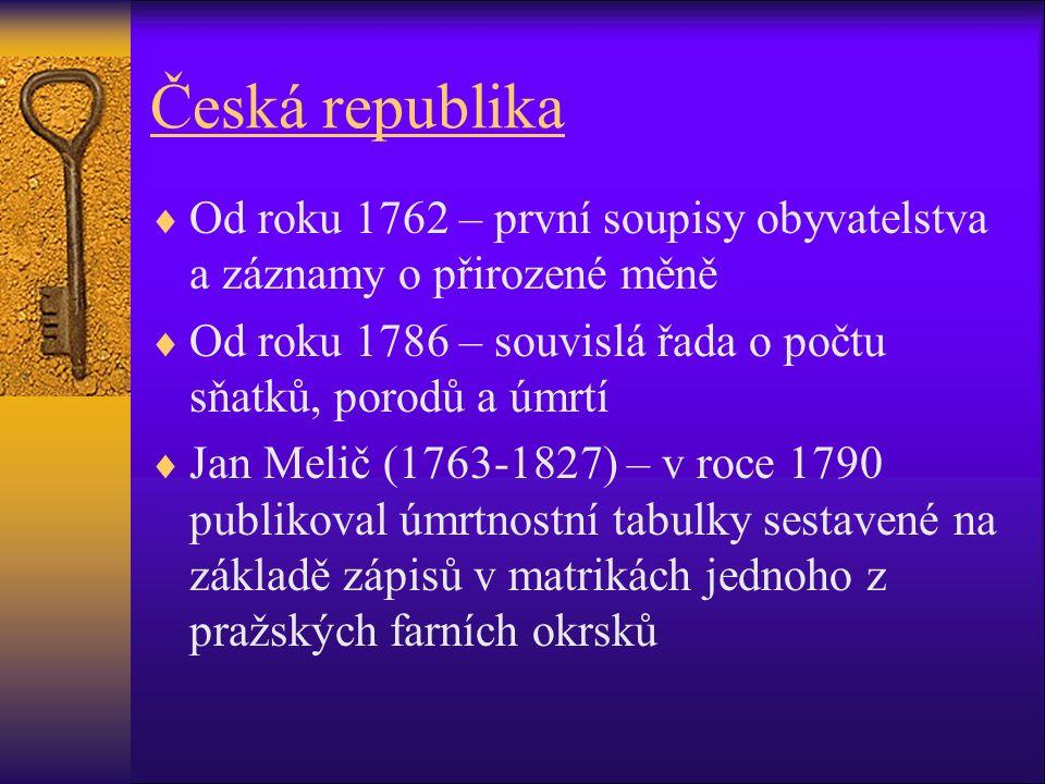 Česká republika  Od roku 1762 – první soupisy obyvatelstva a záznamy o přirozené měně  Od roku 1786 – souvislá řada o počtu sňatků, porodů a úmrtí  Jan Melič (1763-1827) – v roce 1790 publikoval úmrtnostní tabulky sestavené na základě zápisů v matrikách jednoho z pražských farních okrsků