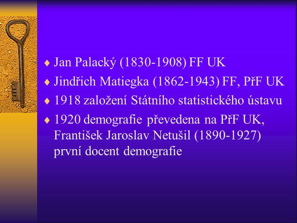  Jan Palacký (1830-1908) FF UK  Jindřich Matiegka (1862-1943) FF, PřF UK  1918 založení Státního statistického ústavu  1920 demografie převedena na PřF UK, František Jaroslav Netušil (1890-1927) první docent demografie