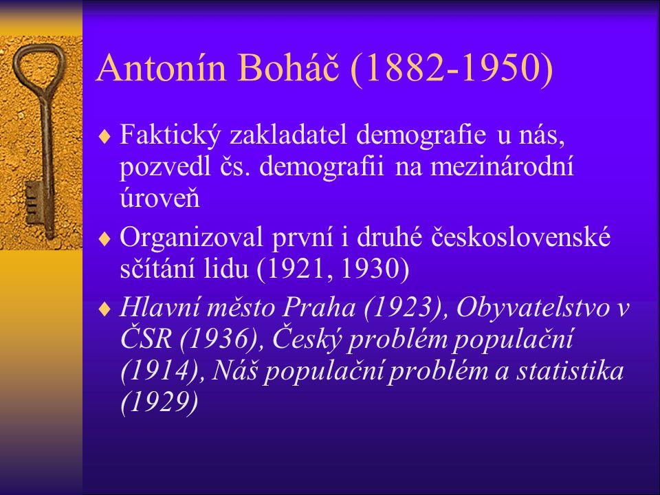 Antonín Boháč (1882-1950)  Faktický zakladatel demografie u nás, pozvedl čs.