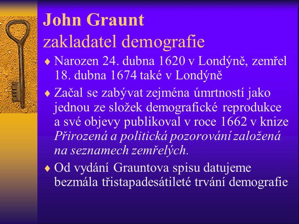 John Graunt zakladatel demografie  Narozen 24. dubna 1620 v Londýně, zemřel 18.