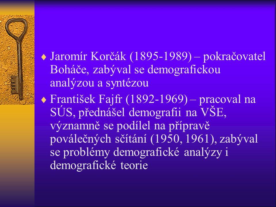  Jaromír Korčák (1895-1989) – pokračovatel Boháče, zabýval se demografickou analýzou a syntézou  František Fajfr (1892-1969) – pracoval na SÚS, přednášel demografii na VŠE, významně se podílel na přípravě poválečných sčítání (1950, 1961), zabýval se problémy demografické analýzy i demografické teorie