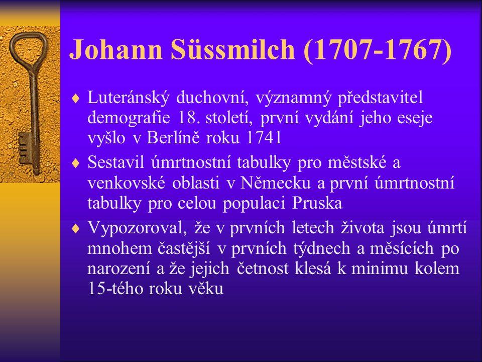 Johann Süssmilch (1707-1767)  Luteránský duchovní, významný představitel demografie 18.
