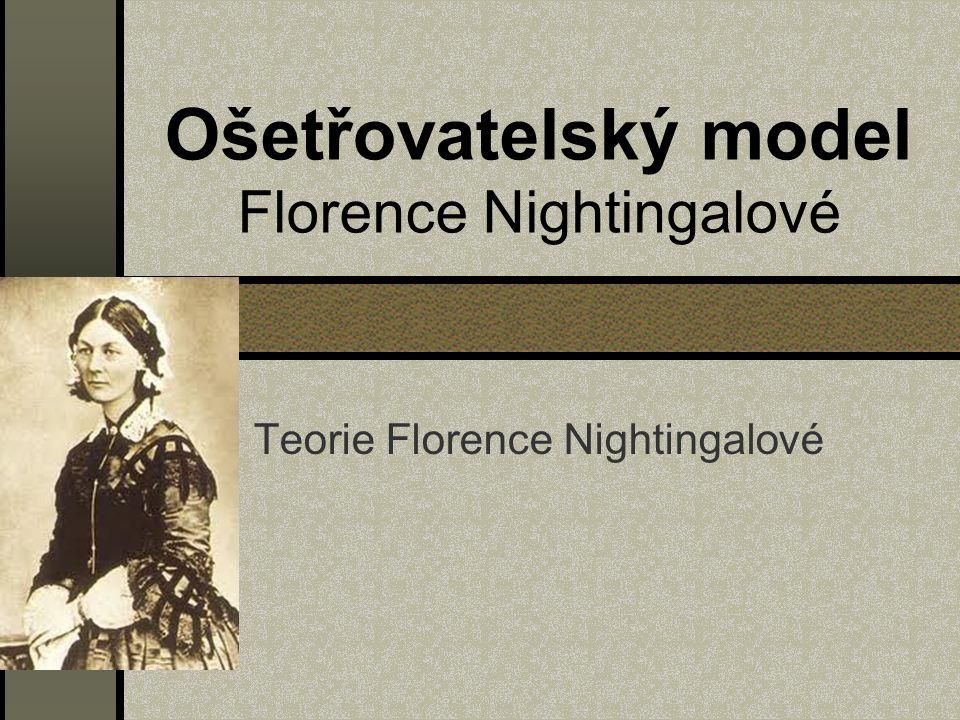 Florence Nightingalové pocházela z aristokratické rodiny od svého vzdělaného otce získala na tehdejší dobu pro ženu velmi dobré vzdělání absolvovala ošetřovatelské vzdělání v Německu v roce 1853 se stala správkyní Hospital for Invalid gentleman v Londýně v době krymské války se zúčastnila mise v Turecku, kde ošetřovala a učila ženy, jak ošetřovat raněné po válce se vrátila do Anglie, kde získala ocenění královské rodiny