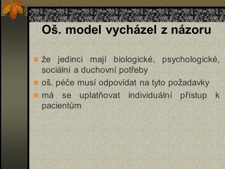 Oš. model vycházel z názoru že jedinci mají biologické, psychologické, sociální a duchovní potřeby oš. péče musí odpovídat na tyto požadavky má se upl