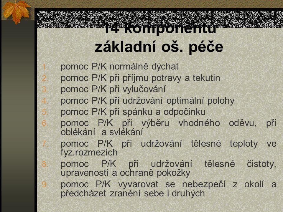 14 komponentů základní oš. péče 1. pomoc P/K normálně dýchat 2. pomoc P/K při příjmu potravy a tekutin 3. pomoc P/K při vylučování 4. pomoc P/K při ud