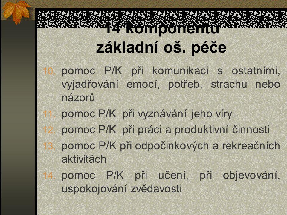 14 komponentů základní oš. péče 10. pomoc P/K při komunikaci s ostatními, vyjadřování emocí, potřeb, strachu nebo názorů 11. pomoc P/K při vyznávání j