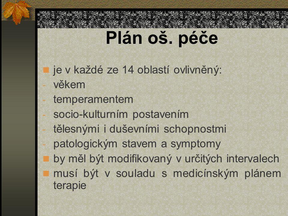 Plán oš. péče je v každé ze 14 oblastí ovlivněný: - věkem - temperamentem - socio-kulturním postavením - tělesnými i duševními schopnostmi - patologic