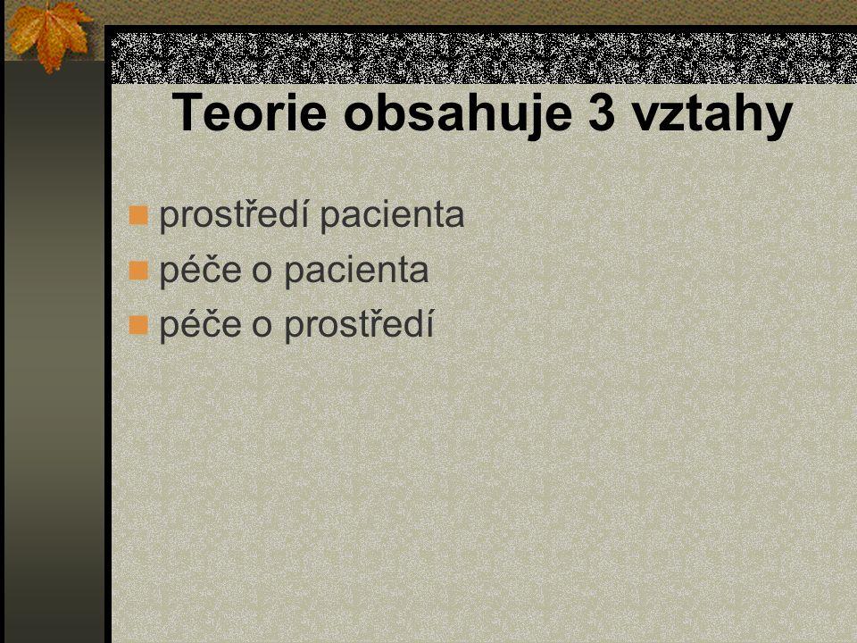 Teorie obsahuje 3 vztahy prostředí pacienta péče o pacienta péče o prostředí