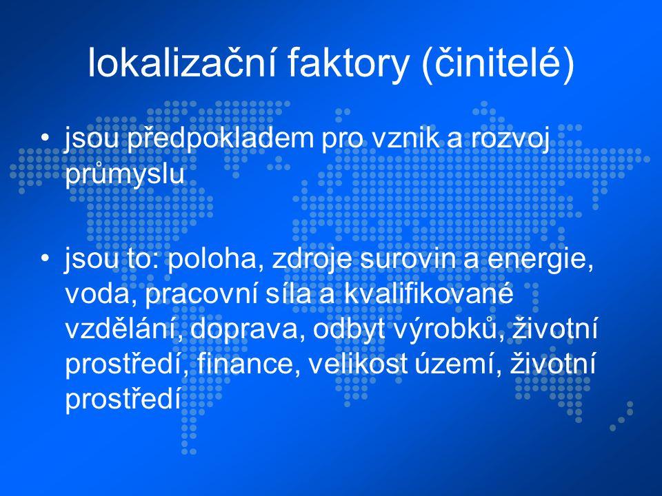 lokalizační faktory (činitelé) jsou předpokladem pro vznik a rozvoj průmyslu jsou to: poloha, zdroje surovin a energie, voda, pracovní síla a kvalifik