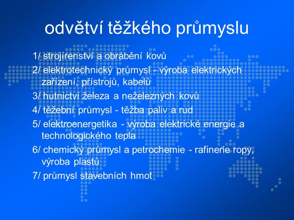 odvětví těžkého průmyslu 1/ strojírenství a obrábění kovů 2/ elektrotechnický průmysl - výroba elektrických zařízení, přístrojů, kabelů 3/ hutnictví ž