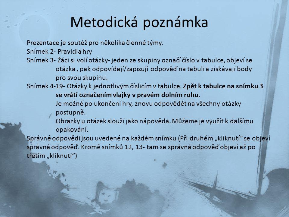 Metodická poznámka Prezentace je soutěž pro několika členné týmy. Snímek 2- Pravidla hry Snímek 3- Žáci si volí otázky- jeden ze skupiny označí číslo