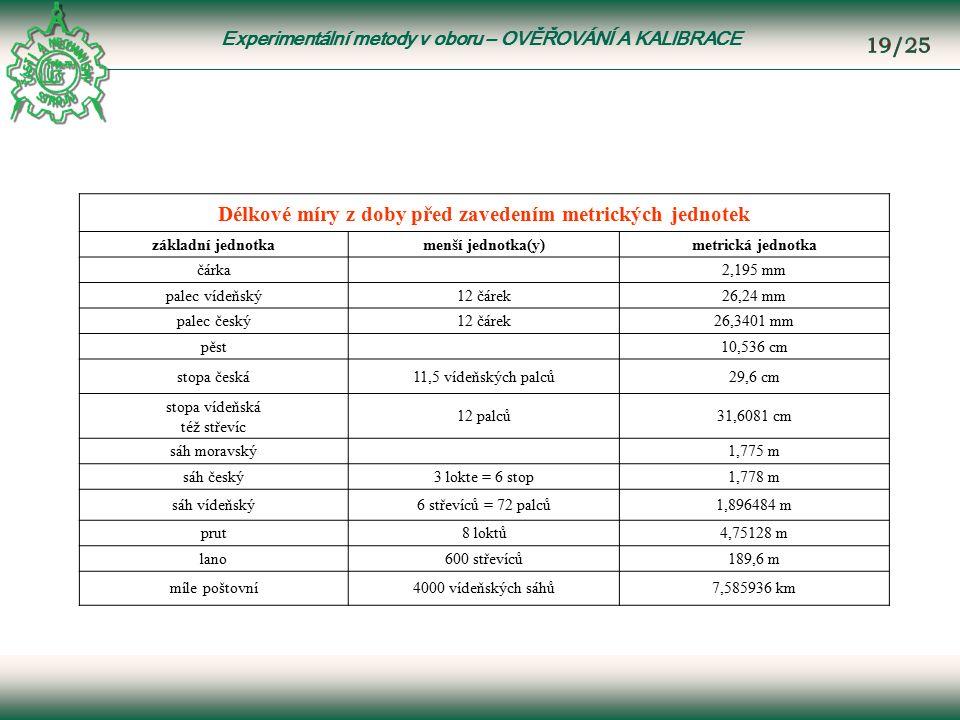 Experimentální metody v oboru – OVĚŘOVÁNÍ A KALIBRACE Délkové míry z doby před zavedením metrických jednotek základní jednotkamenší jednotka(y)metrická jednotka čárka 2,195 mm palec vídeňský12 čárek26,24 mm palec český12 čárek26,3401 mm pěst 10,536 cm stopa česká11,5 vídeňských palců29,6 cm stopa vídeňská též střevíc 12 palců31,6081 cm sáh moravský 1,775 m sáh český3 lokte = 6 stop1,778 m sáh vídeňský6 střevíců = 72 palců1,896484 m prut8 loktů4,75128 m lano600 střevíců189,6 m míle poštovní4000 vídeňských sáhů7,585936 km