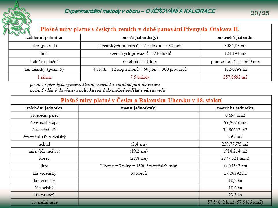Experimentální metody v oboru – OVĚŘOVÁNÍ A KALIBRACE Plošné míry platné v českých zemích v době panování Přemysla Otakara II.