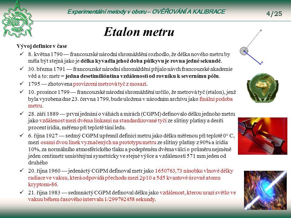 Experimentální metody v oboru – OVĚŘOVÁNÍ A KALIBRACE Etalon metru Vývoj definice v čase 8.