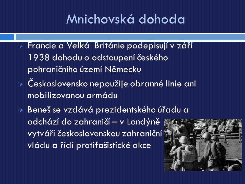 Mnichovská dohoda  Francie a Velká Británie podepisují v září 1938 dohodu o odstoupení českého pohraničního území Německu  Československo nepoužije obranné linie ani mobilizovanou armádu  Beneš se vzdává prezidentského úřadu a odchází do zahraničí – v Londýně vytváří československou zahraniční vládu a řídí protifašistické akce