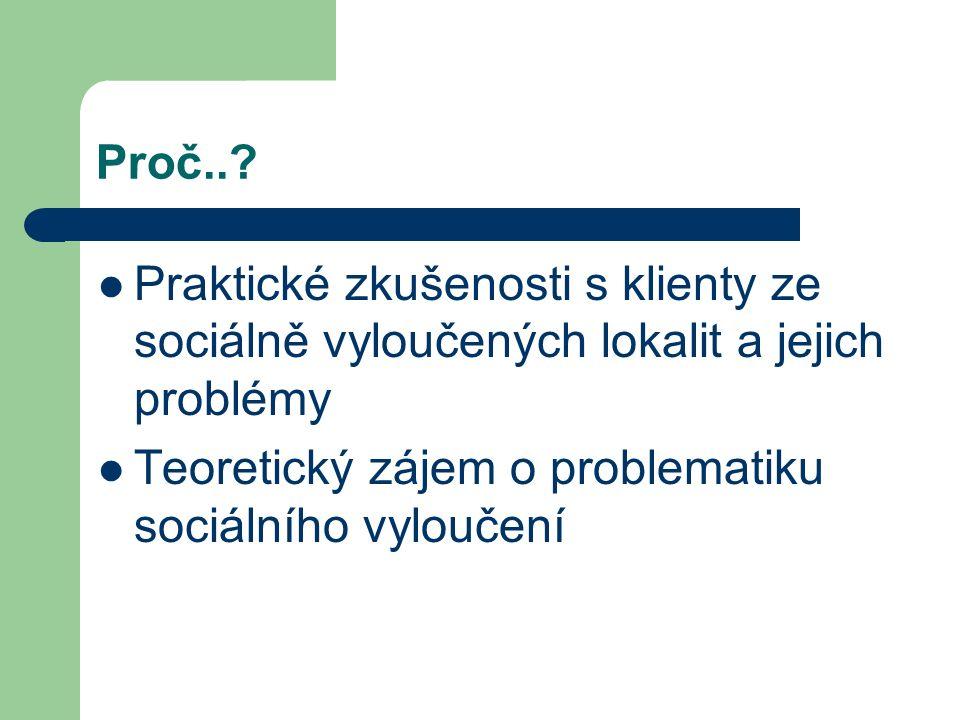 Proč..? Praktické zkušenosti s klienty ze sociálně vyloučených lokalit a jejich problémy Teoretický zájem o problematiku sociálního vyloučení