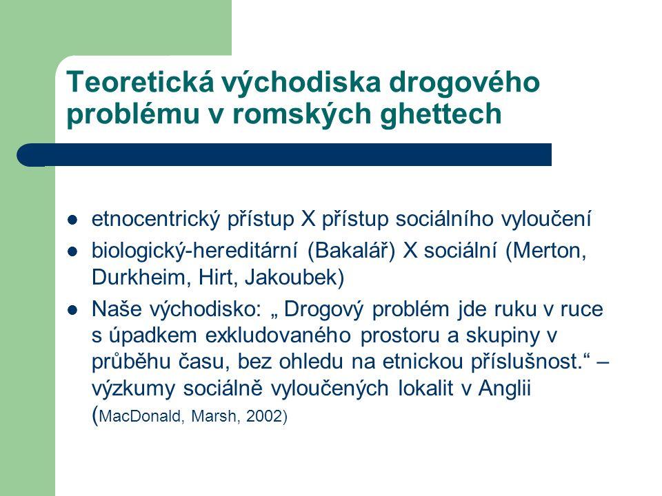 """Teoretická východiska drogového problému v romských ghettech etnocentrický přístup X přístup sociálního vyloučení biologický-hereditární (Bakalář) X sociální (Merton, Durkheim, Hirt, Jakoubek) Naše východisko: """" Drogový problém jde ruku v ruce s úpadkem exkludovaného prostoru a skupiny v průběhu času, bez ohledu na etnickou příslušnost. – výzkumy sociálně vyloučených lokalit v Anglii ( MacDonald, Marsh, 2002)"""