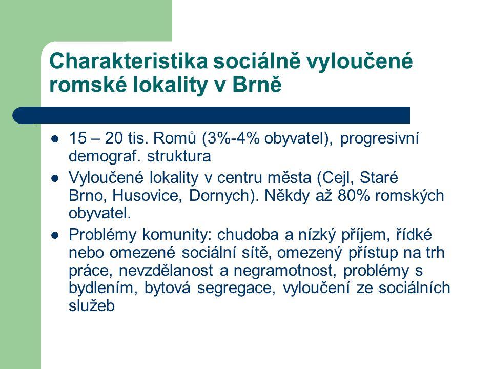 Charakteristika sociálně vyloučené romské lokality v Brně 15 – 20 tis. Romů (3%-4% obyvatel), progresivní demograf. struktura Vyloučené lokality v cen