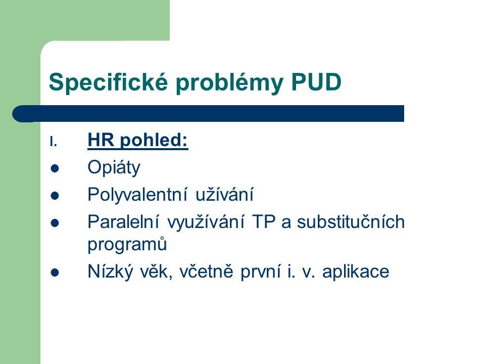 Specifické problémy PUD I. HR pohled: Opiáty Polyvalentní užívání Paralelní využívání TP a substitučních programů Nízký věk, včetně první i. v. aplika