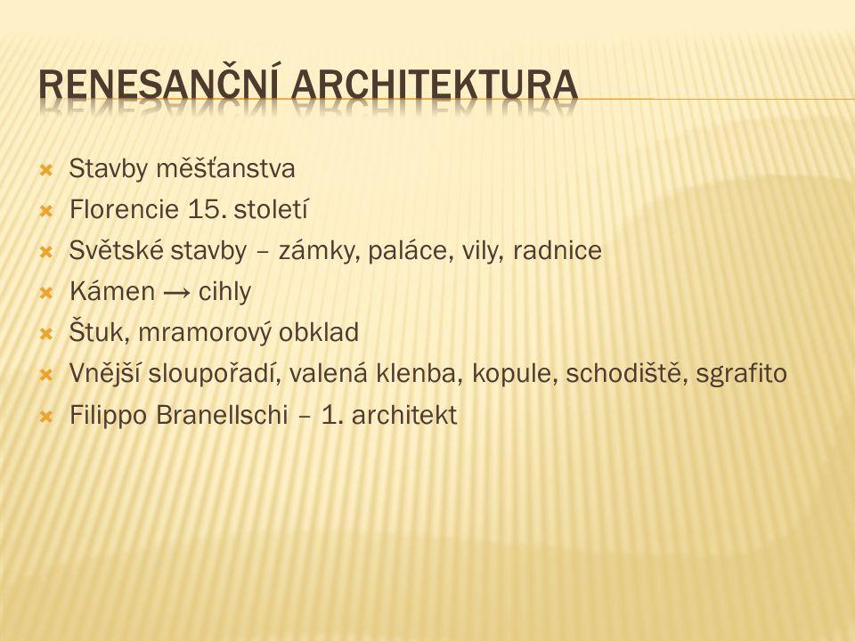  Stavby měšťanstva  Florencie 15.