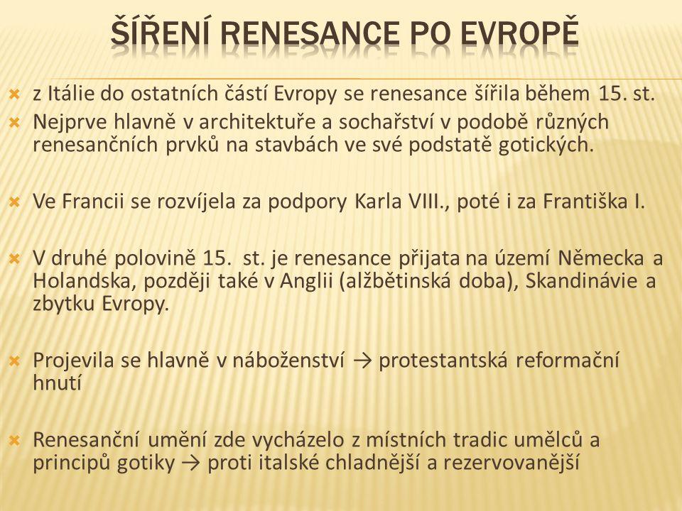  z Itálie do ostatních částí Evropy se renesance šířila během 15.