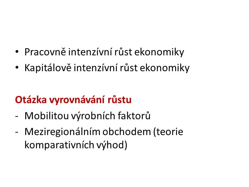Pracovně intenzívní růst ekonomiky Kapitálově intenzívní růst ekonomiky Otázka vyrovnávání růstu -Mobilitou výrobních faktorů -Meziregionálním obchodem (teorie komparativních výhod)