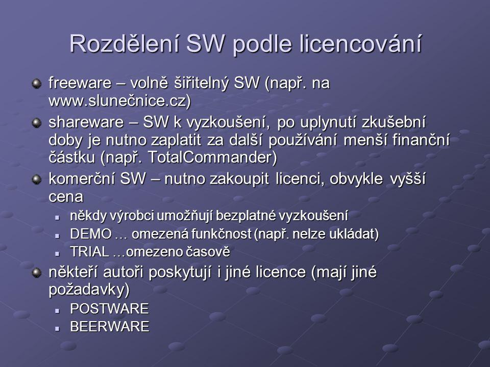 Rozdělení SW podle licencování freeware – volně šiřitelný SW (např.