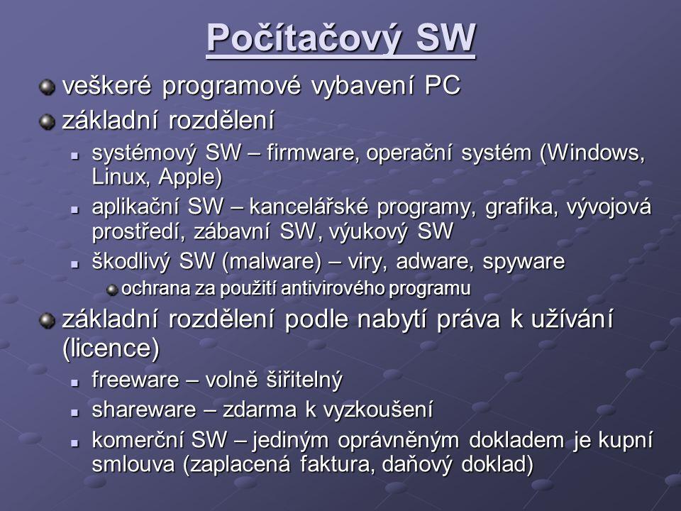 Počítačový SW veškeré programové vybavení PC základní rozdělení systémový SW – firmware, operační systém (Windows, Linux, Apple) systémový SW – firmware, operační systém (Windows, Linux, Apple) aplikační SW – kancelářské programy, grafika, vývojová prostředí, zábavní SW, výukový SW aplikační SW – kancelářské programy, grafika, vývojová prostředí, zábavní SW, výukový SW škodlivý SW (malware) – viry, adware, spyware škodlivý SW (malware) – viry, adware, spyware ochrana za použití antivirového programu základní rozdělení podle nabytí práva k užívání (licence) freeware – volně šiřitelný freeware – volně šiřitelný shareware – zdarma k vyzkoušení shareware – zdarma k vyzkoušení komerční SW – jediným oprávněným dokladem je kupní smlouva (zaplacená faktura, daňový doklad) komerční SW – jediným oprávněným dokladem je kupní smlouva (zaplacená faktura, daňový doklad)