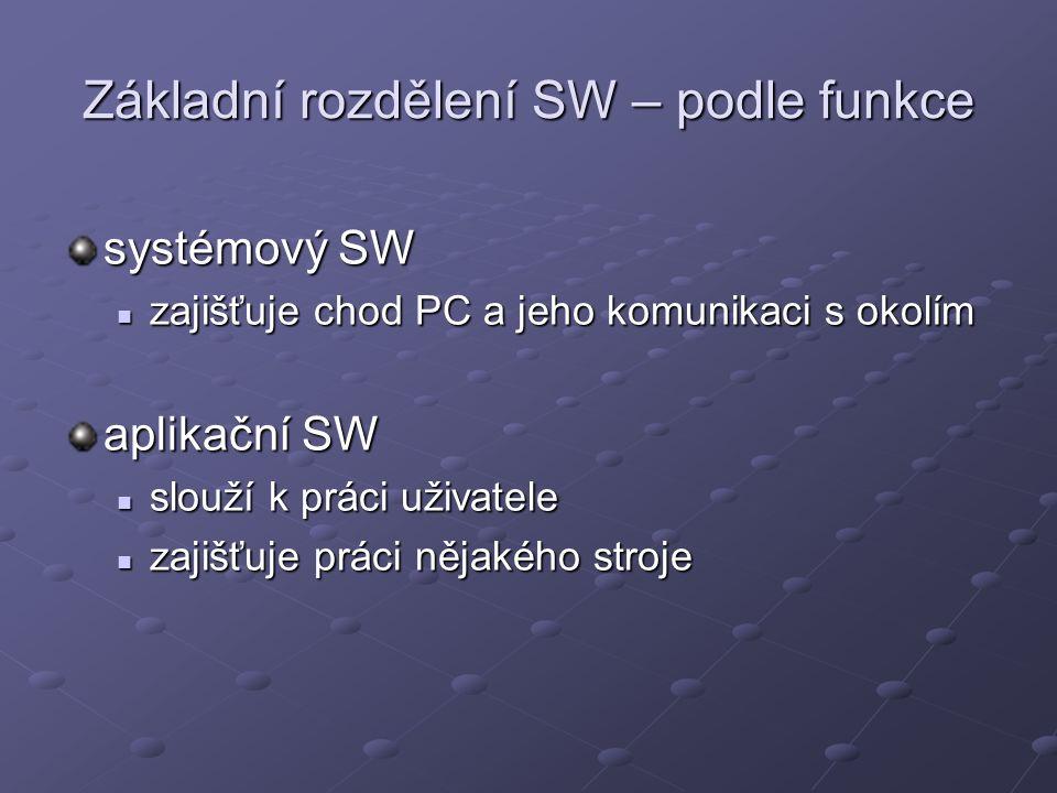 Základní rozdělení SW – podle funkce systémový SW zajišťuje chod PC a jeho komunikaci s okolím zajišťuje chod PC a jeho komunikaci s okolím aplikační SW slouží k práci uživatele slouží k práci uživatele zajišťuje práci nějakého stroje zajišťuje práci nějakého stroje