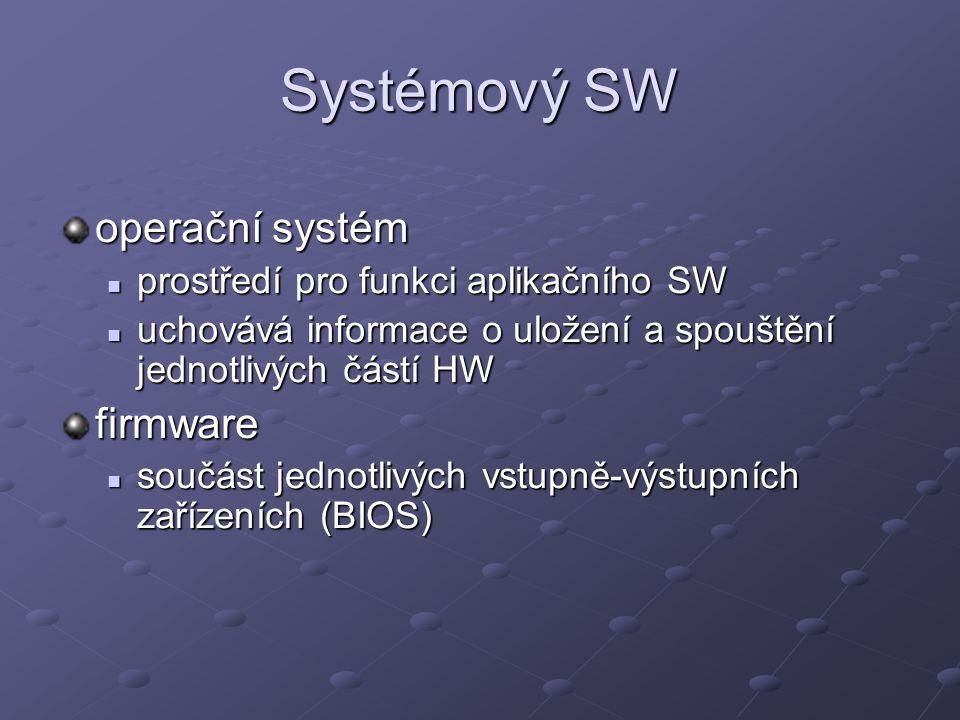 Systémový SW operační systém prostředí pro funkci aplikačního SW prostředí pro funkci aplikačního SW uchovává informace o uložení a spouštění jednotlivých částí HW uchovává informace o uložení a spouštění jednotlivých částí HWfirmware součást jednotlivých vstupně-výstupních zařízeních (BIOS) součást jednotlivých vstupně-výstupních zařízeních (BIOS)